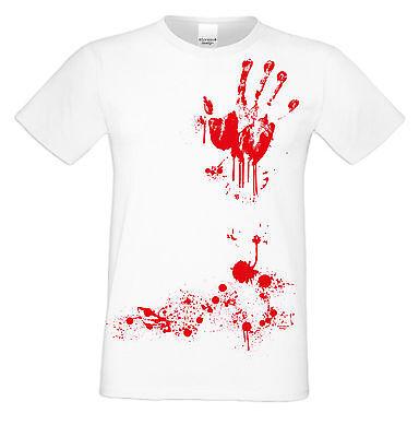 Blutige Hand Halloween Kostüm Herren Fun-T-Shirt Verkleidung  . Farbe: weiss ()