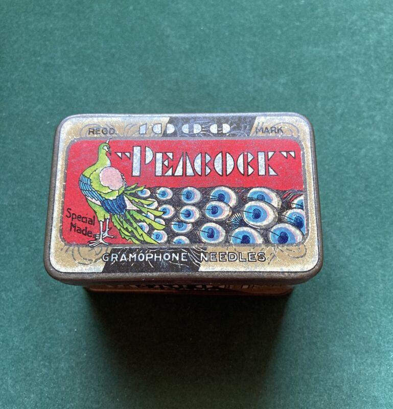 Very Rare 1000 Capacity Peacock Gramophone Needle Tin