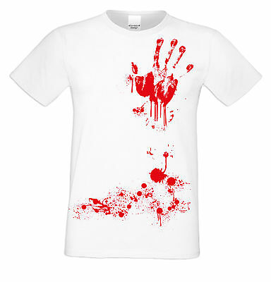 Blutige Hand Halloween Kostüm Fun T-Shirt Herren Party Outfit . Farbe: weiss ()
