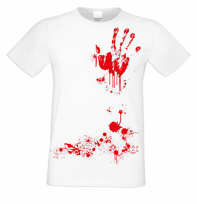 Blutige Hand - Handabdruck Blut Halloween T-Shirt Horror Herren Männer weiss ()