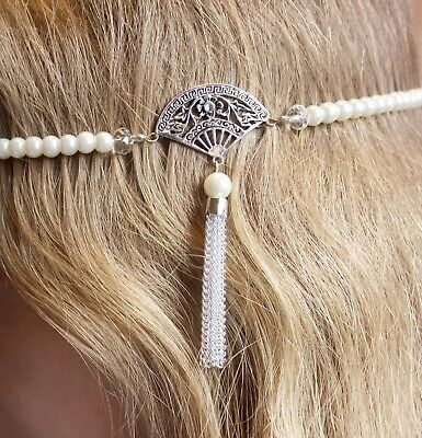 1920's/flapper pearl beaded headband with Art Deco style fan and chain - 20s Style Headband