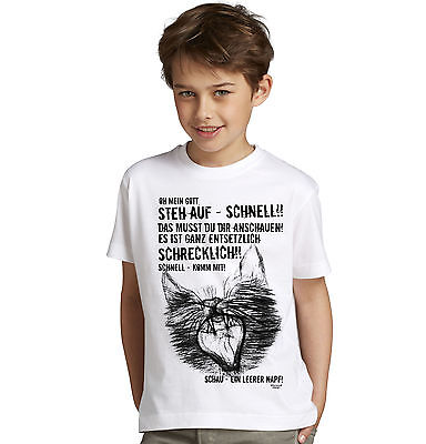 Kinder T-Shirt Geschenk Jungen  Ein leerer Napf - Katzen-Motiv  Farbe: weiss