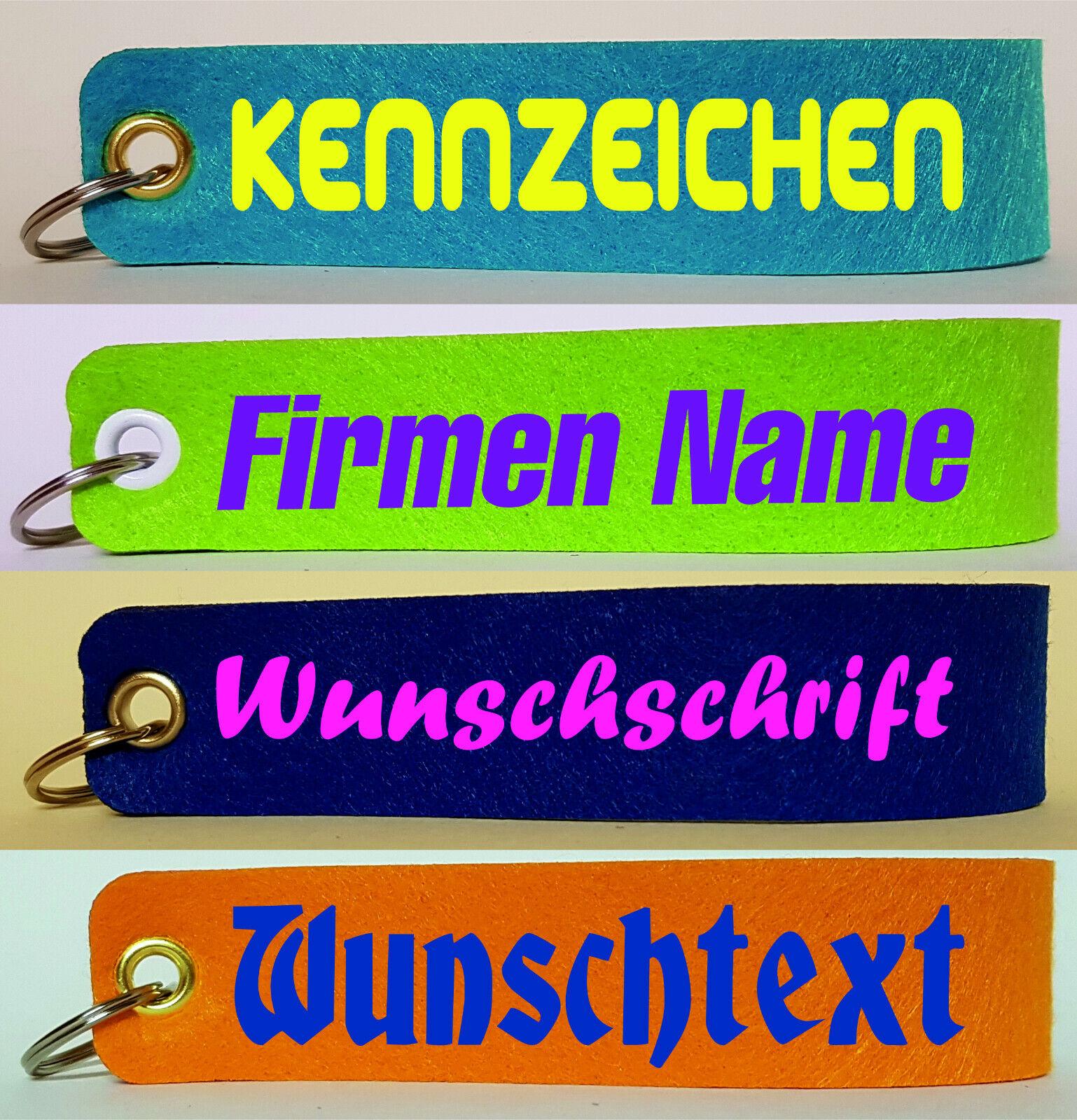 Filz Schlüsselanhänger, Wunschtext, Wunschname, Logo 3mm 30mm x 150mm Ösen