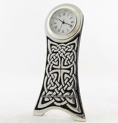 CELTIC KNOT DESIGN MINIATURE CLOCK ENGLISH PEWTER GOTHIC MADE IN ENGLAND 4135