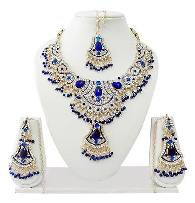 Indian Bollywood Jewelry Costume Wedding Jewellery Kundan Necklace Set T8094