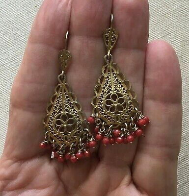 Chandelier Earrings Filigree Sterling Vermeil Bead Fringe Ethic Bollywood 2.25