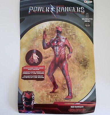 Adult Red Power Ranger Costume Mens XXL 2XL 50 - 52 Cosplay Halloween Bodysuit