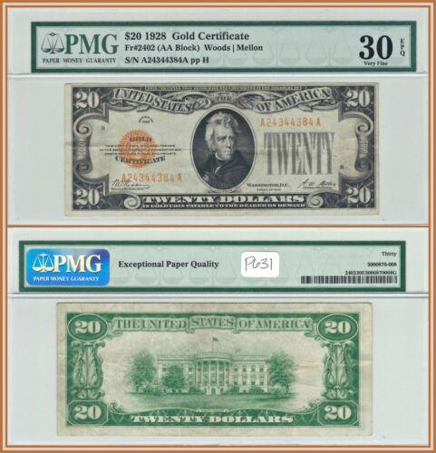 1928 $20 Gold Certificate Bank Note PMG 30 EPQ Very Fine VF Twenty Dollars