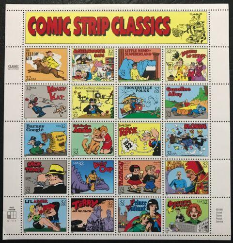 1995 - Scott #3000 - COMIC BOOK CLASSICIS - Full Sheet of 20 Stamps, Mint NH