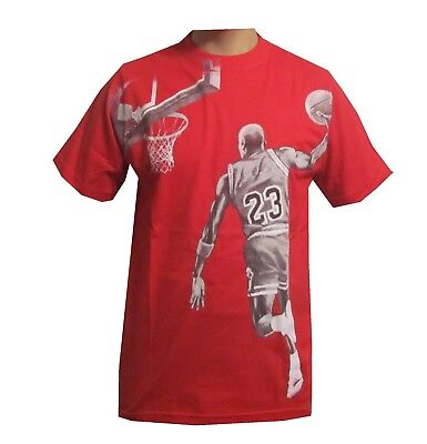 Short Sleeve Basketball Graphic Tee - NEW PRINTED SHORT SLEEVE TEE'S DUNKING BASKETBALL  NUMBER 23 100% COTTON