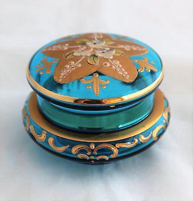 Moser Bohemian Blue Glass Enameled Flowers Gold Gilt Trinket Dresser Box Jar