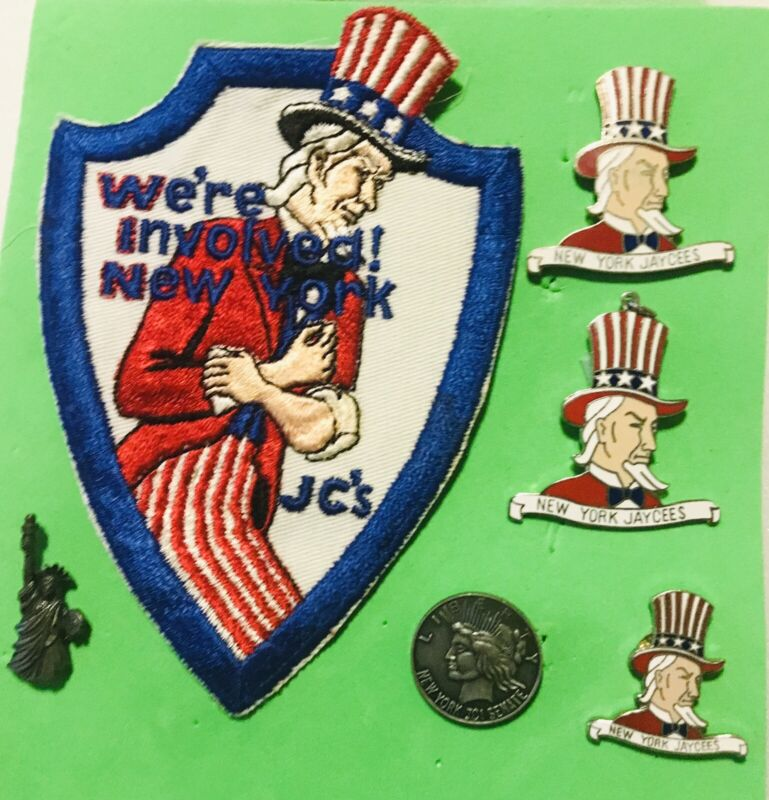 New York Jaycees Pins And Patch Lot. Uncle Sam Statue Of Liberty Senate