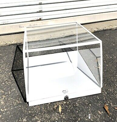 New White Wood Plexiglass Countertop Display Case With Lock Keys