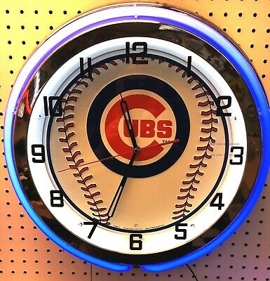 """18"""" CHICAGO CUBS Sign Double Neon Clock"""