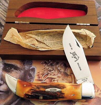 Case XX Stag Clasp Bulldog Knife 1965-1969 Era Never Used With Wood Box NICE! NR