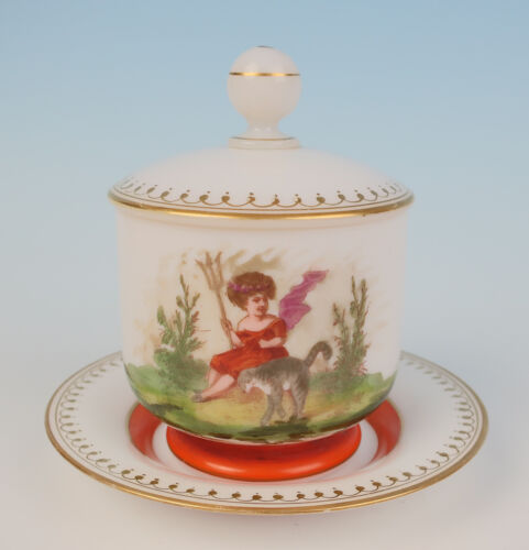 Rare Signed Baccarat Opaline Dresser Jar Girl w/ Cat Antique French Glass Vanity