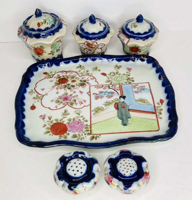 Vtg Hand Painted Japanese Geisha Girl Porcelain Tea Set Tray Shakers Cobalt Blue