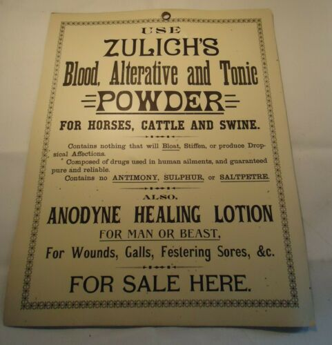 Antique Veterinary medicine Sign Zulich