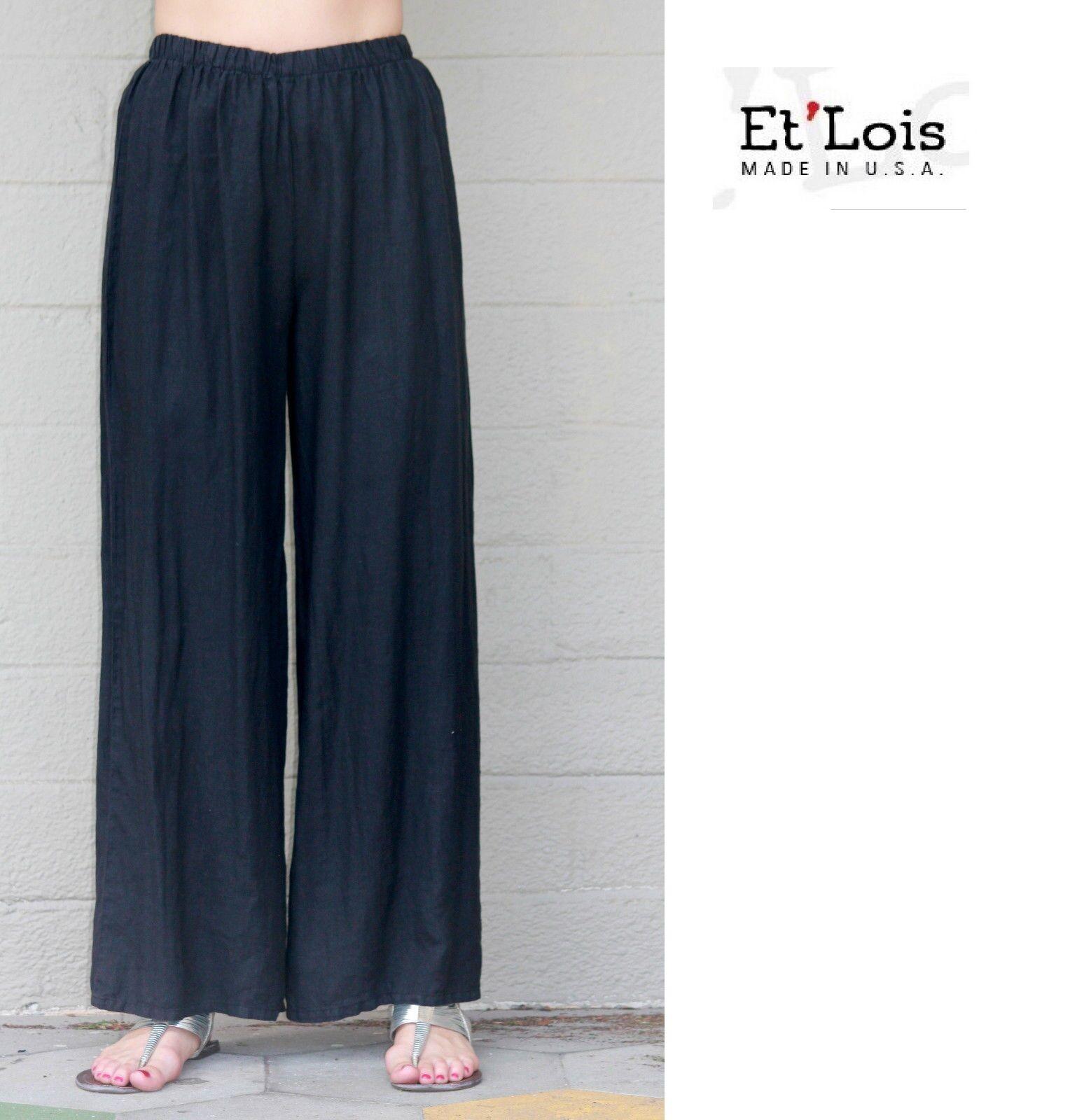 ET/'LOIS USA  Linen BEBE  PANT Wide-Leg  w// Deep Pocket Details  S M L XL  BLACK
