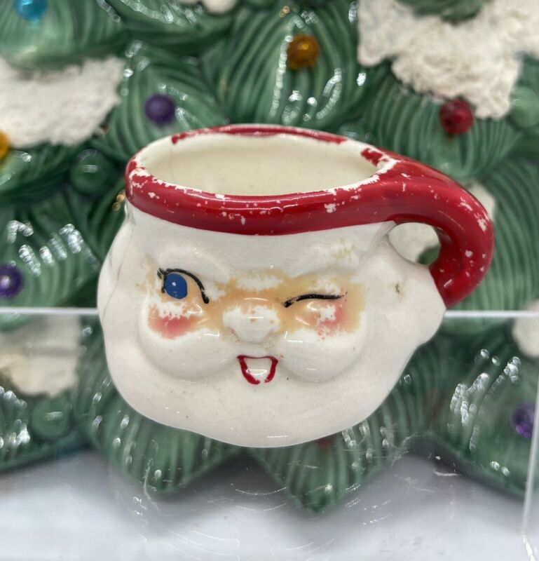 "Vintage Holt Howard 1960 Ceramic Winking Santa 2 1/2"" Cup Mug"