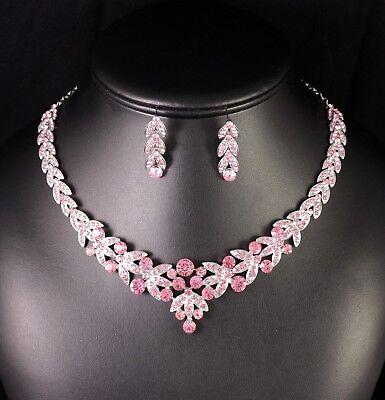 (Floral Pink Austrian Rhinestone Crystal Necklace Earrings Set Bridal Prom N20p)