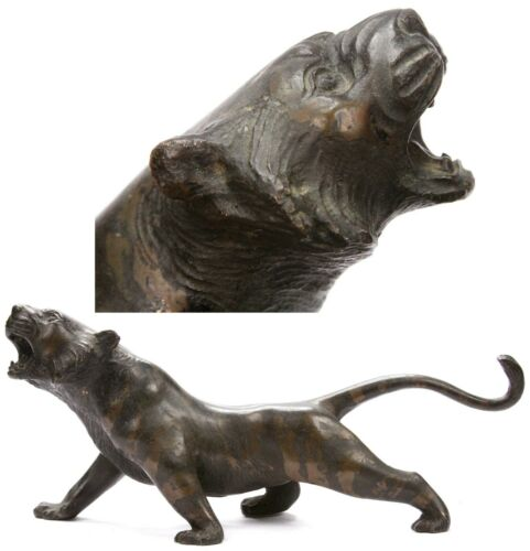 Antique Japanese Meiji Bronze Okimono Tiger Statue Figure Sculpture Japan Old