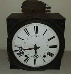 Antique 19th C. French Morbier Comtoise Porcelain Dial Wag On Wall Clock c.1840