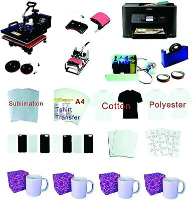 15x15 5in1 Pro Sublimation Heat Press Epson Wf-3720 Printer Ciss Material Kit
