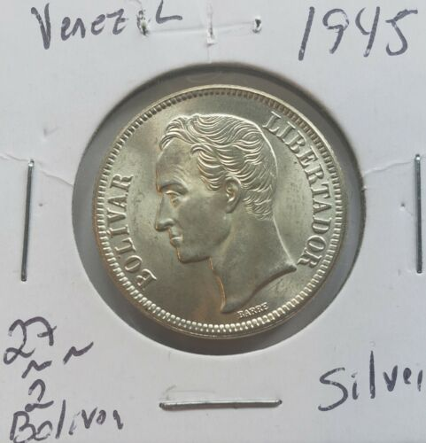 1945 Venezuela 2 Bolívares Silver Coins Gram 10