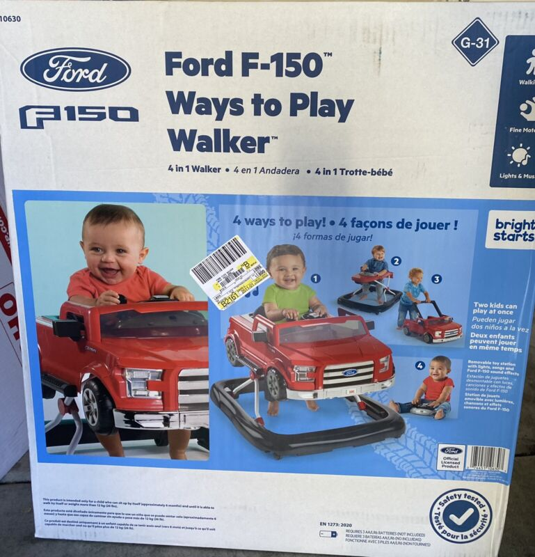3-in-1 Ford F-150 Baby Walker with Activity Station Red Safe Rubber Feet Brake