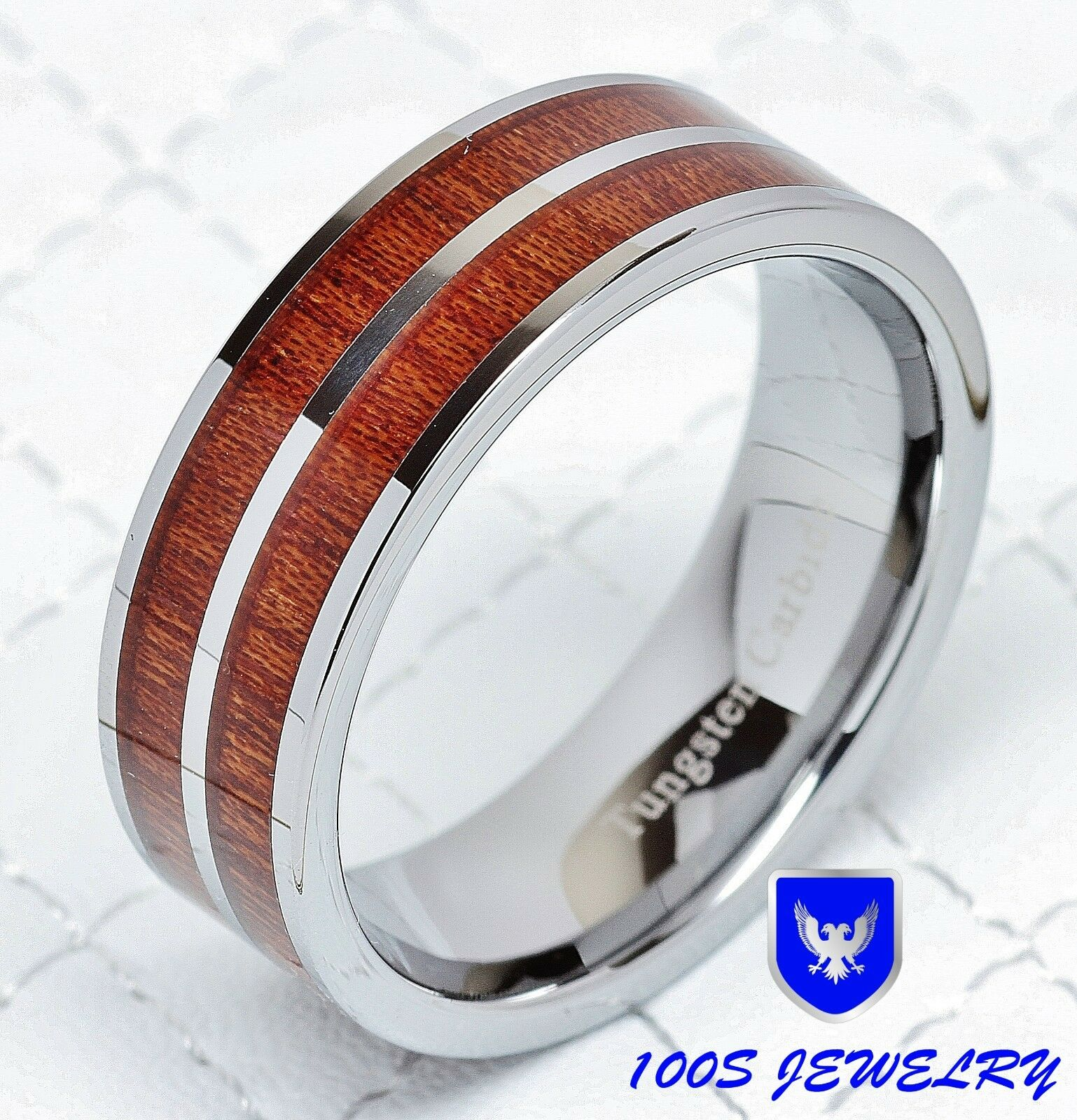 Male Wedding Bands Wood Inlay: 8mm Mens Tungsten Carbide Wood Inlay Wedding Band