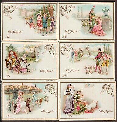 """LIEBIG T-5 """"VARIOUS SCENES II"""" FULL SET 6 VINTAGE TABLE (PLACE) CARDS 1890 FRNCH"""