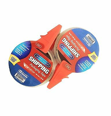 2pc 1.88 X 27.3 Inches Yards Super Clear Heavy Duty Packing Tape With Dispenser