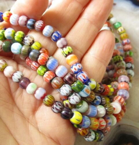 "Venetian Striped Millefiori Trade Round Beads 6mm, Lampwork 16"" One Strand"