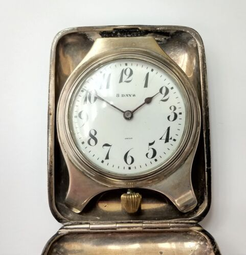Majestic Watch Co 15 Jewels 8 Day Sterling Silver Travel Clock As Is