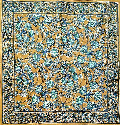 Teal Napkins (Hand Block Print Floral Berry Napkins Table Linen Cotton Beautiful Blue)