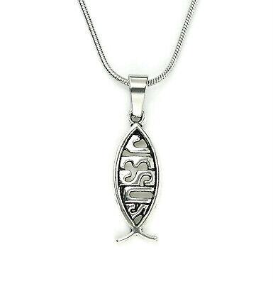 Jesus Fish Necklace (Jesus Fish Necklace, Christian Ichthys Saviour IXOYE Charm Pendant in Gift)
