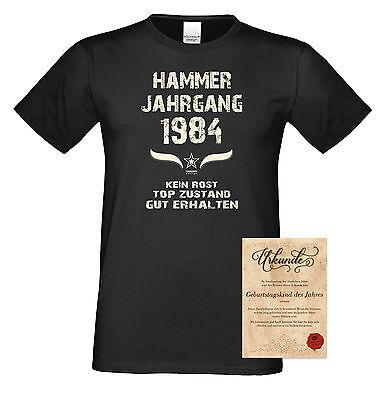 1984 Schwarzen T-shirt (Hammer Jahrgang 1984 T-Shirt & Urkunde Geburtstagsgeschenk Männer in: schwarz)