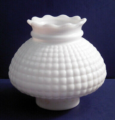 """small Vintage Milk Glass CornRow Replacement Lamp Shade (5.75"""" tall / 2.75"""" fit)"""