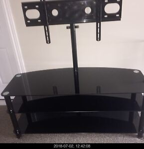52 Inch glass TV stand with adjustable mount