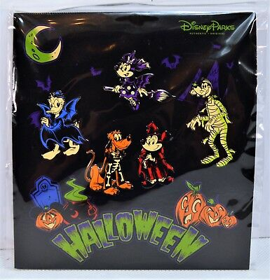 Disney 2017 Halloween Mickey Minnie Goofy Donald Pluto Booster 5 Pin Set - 2017 Halloween