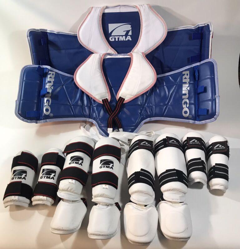 Rhingo GTMA Martial Arts Protective Gear (Lot) Shin Chest Vest Arm Guard Adult S
