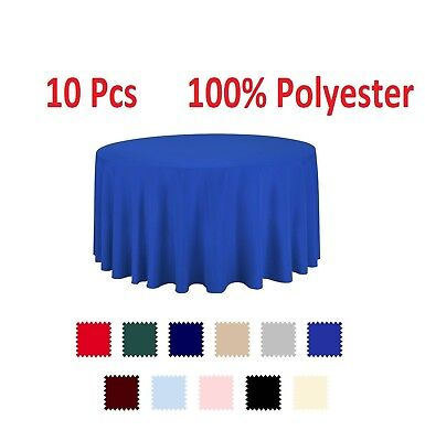 10 pcs Polyester Tablecloth Bulk for Party Choose White Ivory Round