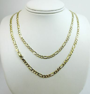 3.5mm Figaro Pave Chain. Vermeil Gold over Sterling Silver 2 tone, 16 to 30 Inch - Gold Pave Figaro Chain