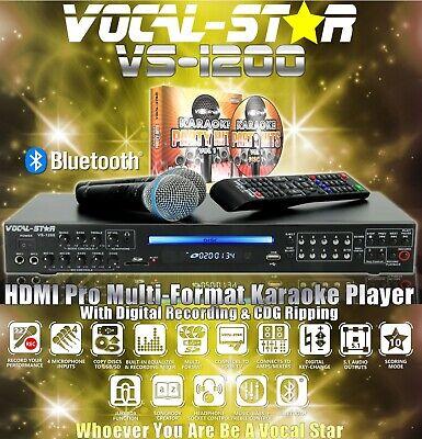VOCAL-STAR VS-1200 CDG DVD BLUETOOTH KARAOKE MACHINE PLAYER 2 MICS 150 SONGS