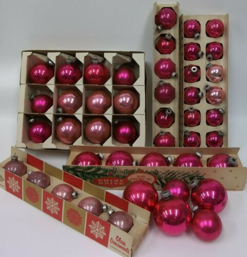 Estate Lot of 45 Vintage Pink Mercury Glass Shiny Brite Christmas Ornaments