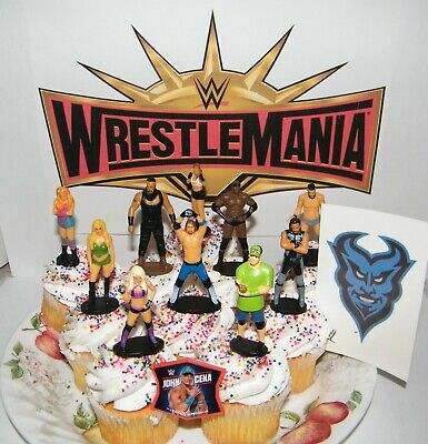 Wwe Cake Toppers (WWE Wrestling Cake Toppers Set of 12 with 10 Figures, WWE Tattoo and Finger)