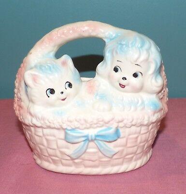 Vintage Inarco E-2191 Ceramic Cat & Dog Easter Basket Planter