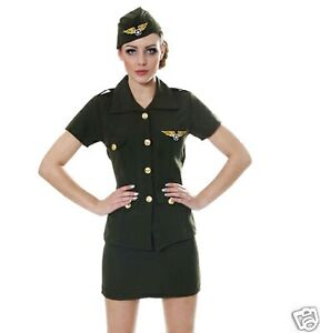 Womens-Army-Armed-Forces-Pilot-Military-Air-Force-Fancy-Dress-Costume-UK-8-10