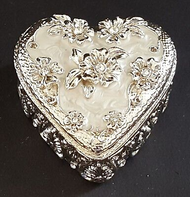 Silver plate & cream enamel vintage Art Deco antique heart shape trinket box